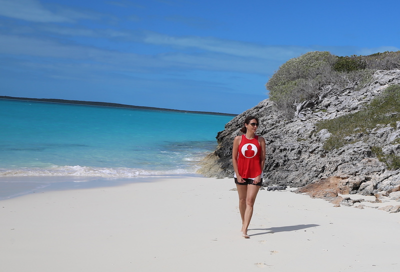 Annette White on an island in the Exuma Cays