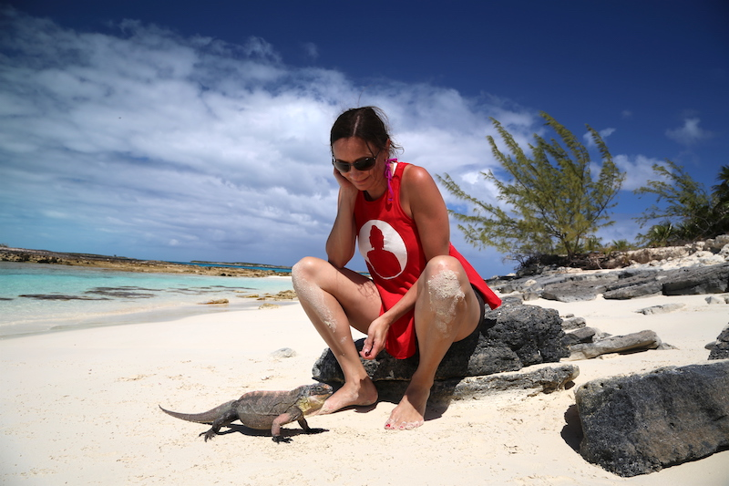 Annette White on Iguana Island in the Bahamas