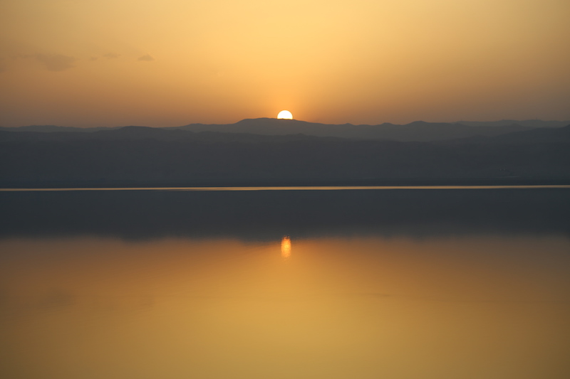 Sunset over The Dead Sea in Jordan