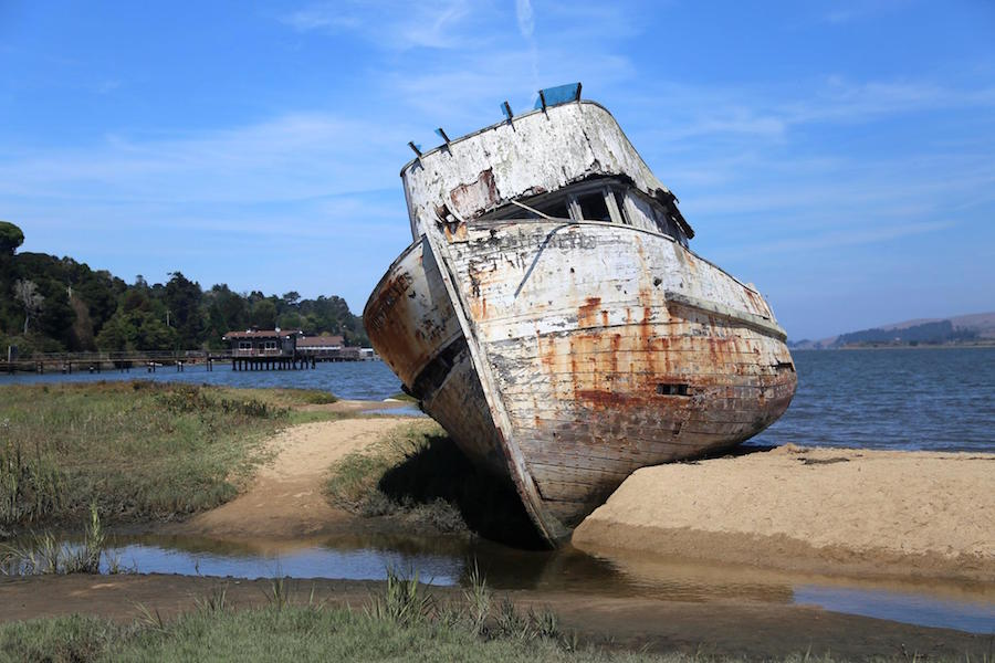 The old boat in Inverness of Point Reyes