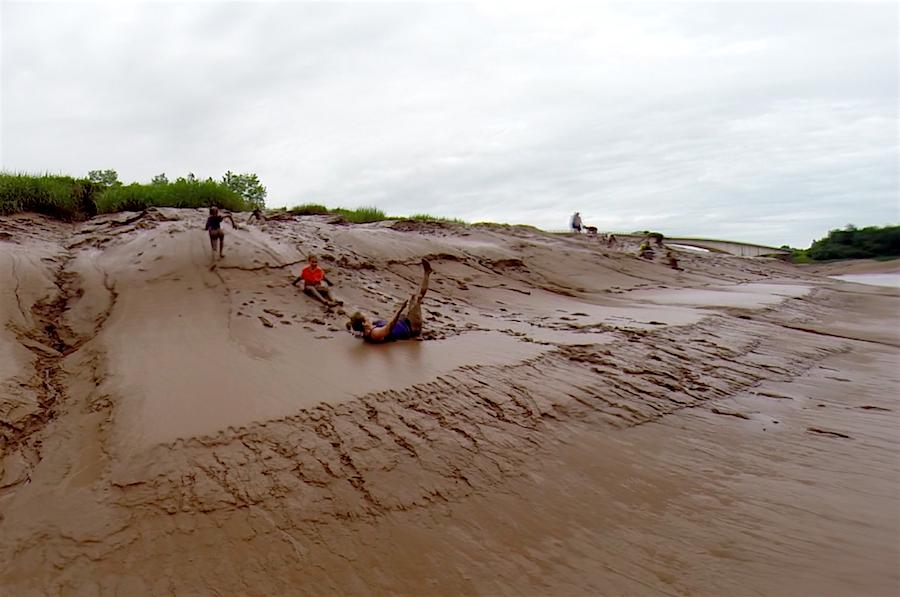 Mudsliding in Nova Scotia, Canada