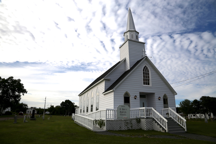 A white steepled church along the Cabot Trail in Nova Scotia, Cape Breton