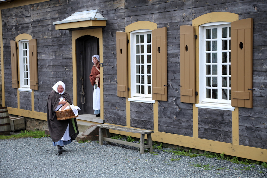 Characters playing their part in Louisbourg in Nova Scotia Canada