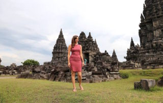 Annette White at a temple in Indonesia