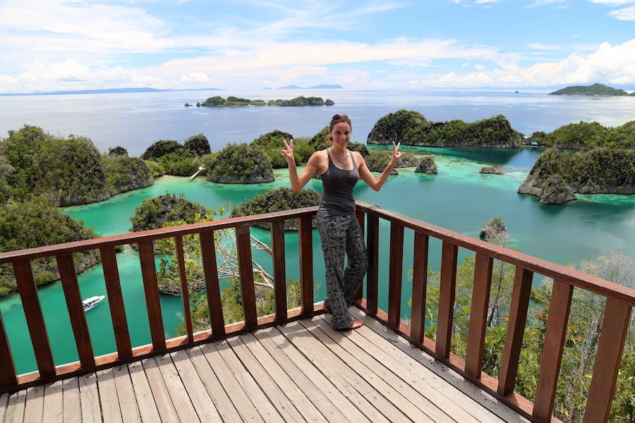 Annette White enjoying the view on Piaynemo island in Raja Ampat