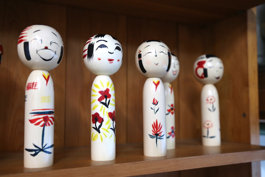 Kokeshi dolls at Aiku Craft Center in Sendai, Japan