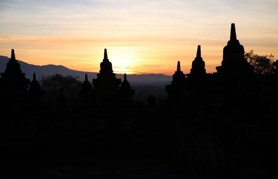 Sunrise at Borobudur Temple Yogyakarta Indonesia