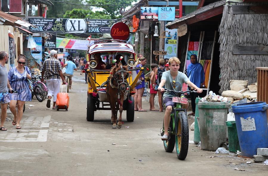 The streets of Gili Trawangan island in Indonesia