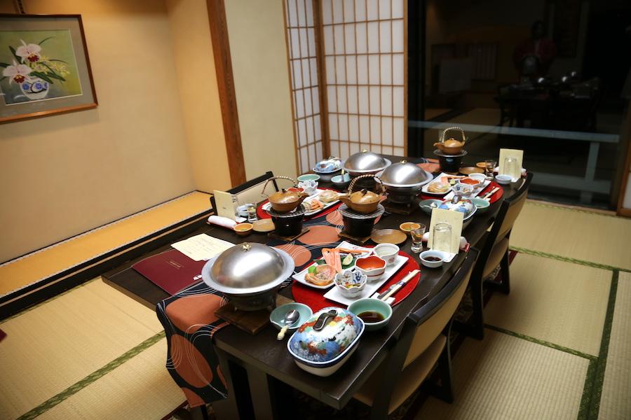 The dinner table at Hotel Sakan Ryokan Sendai Japan