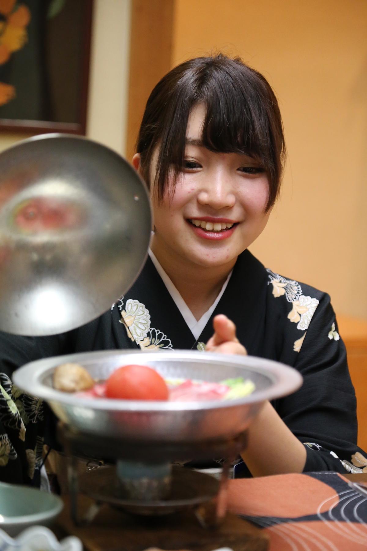 Dinner is served at Hotel Sakan Ryokan in Sendai Japan