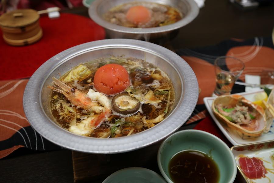 Dinner at Hotel Sakan Ryokan in Sendai Japan