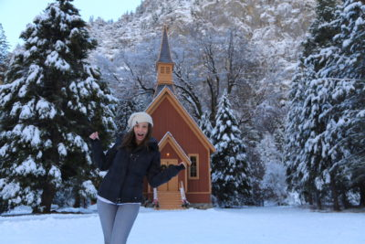 Annette White at the Chapel in the Yosemite Valley