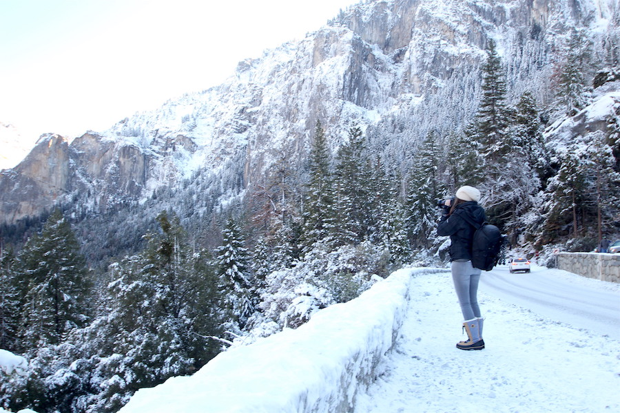 Getting an iconic shot at the Tunnel View at Yosemite Valley National Park in the Winter