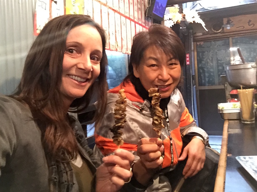 Annette White eating Yakitori in Tokyo's Piss Alley