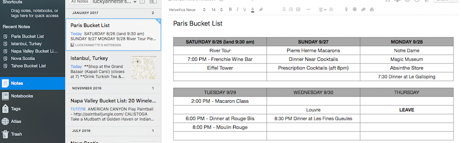 The perfect itinerary calendar