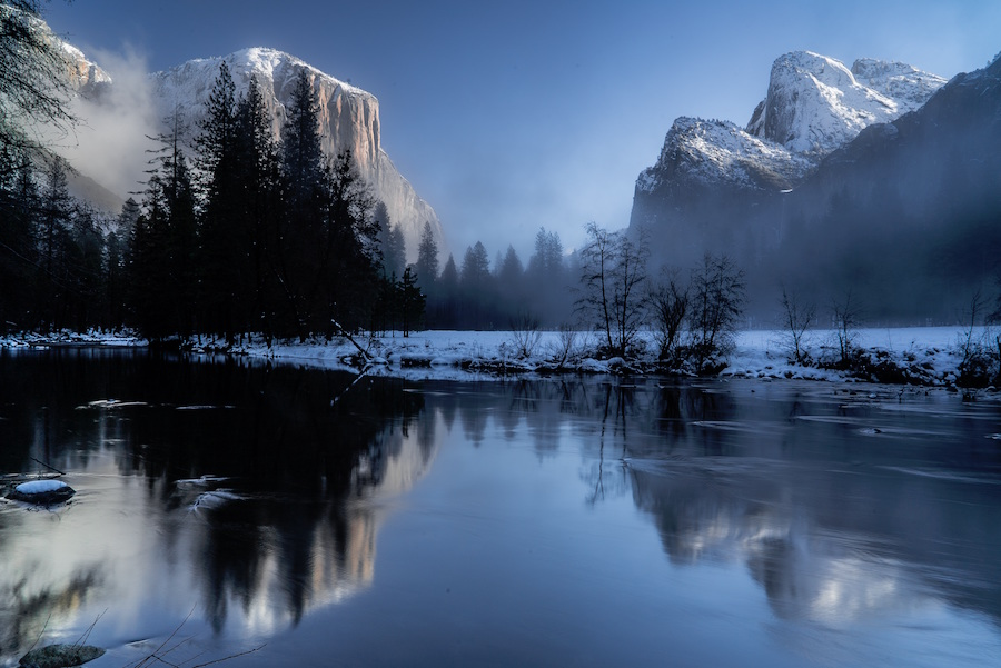The Valley View in Yosemite Valley in the the Winter