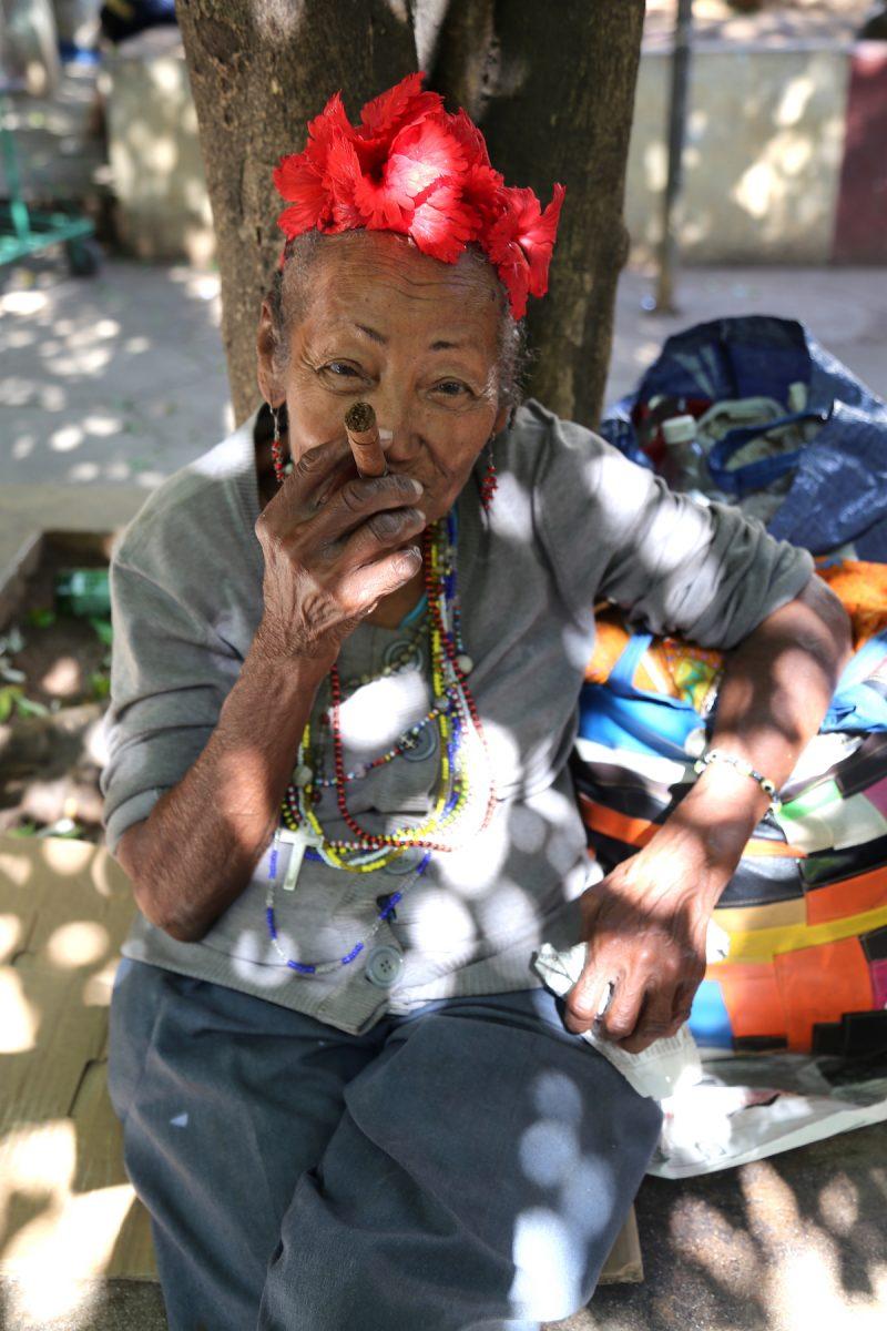 A Woman smoking a Cuban in Havana