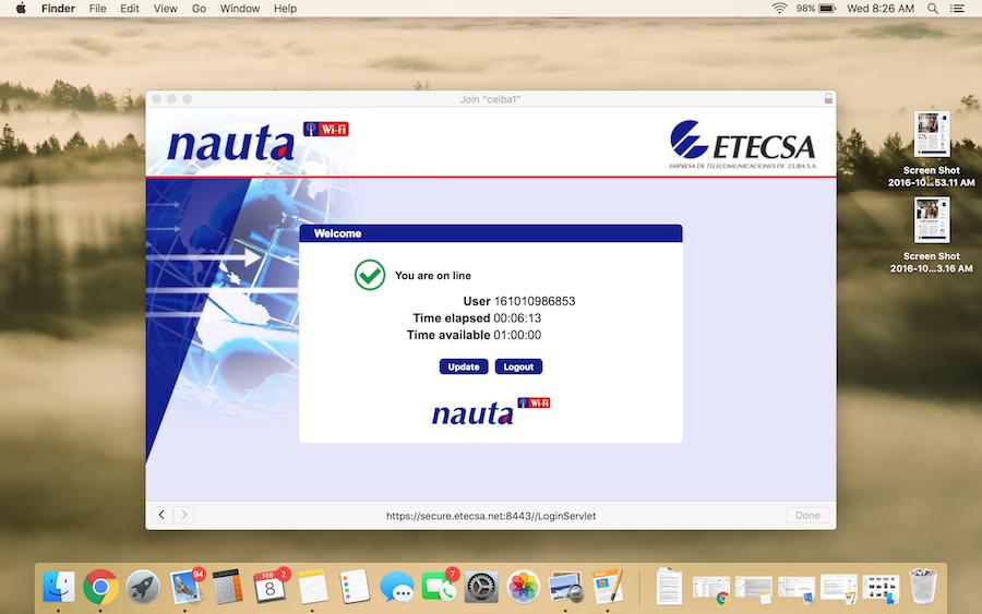 Internet Access Screen in Havana Cuba