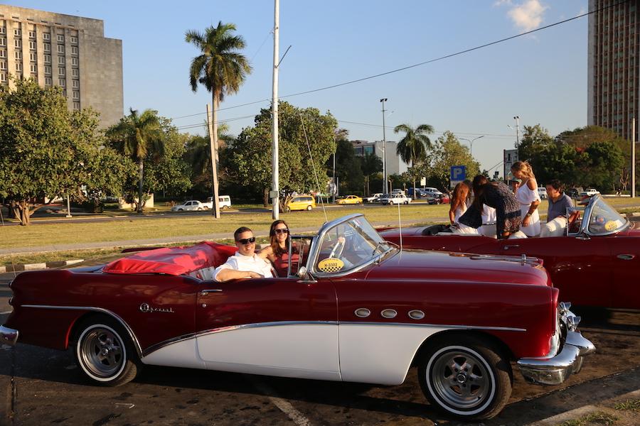 Annette White in a Vintage Convertible in Havana, Cuba
