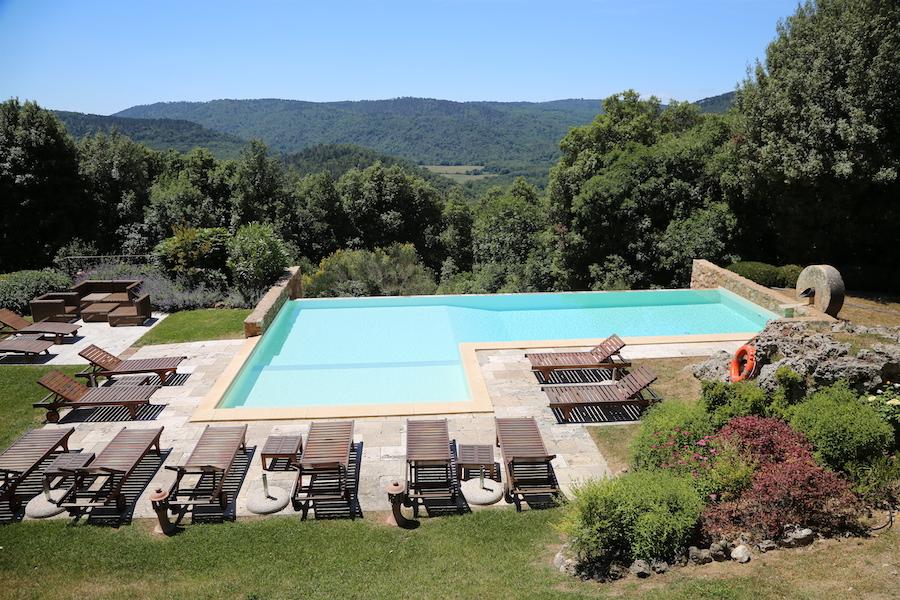 The pool Montestigliano luxury villa estate in Tuscany