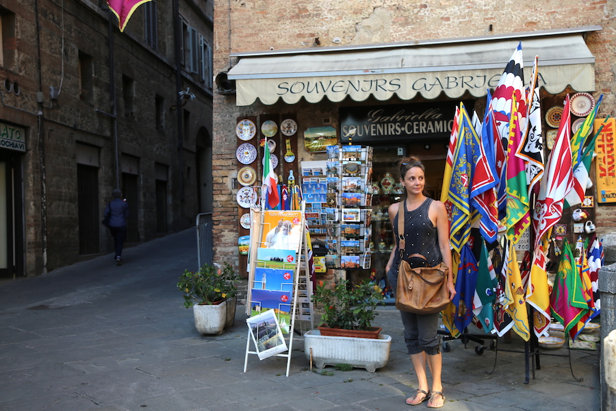 Annette White at a Cute shop in Siena, Northern Italy, Tuscany