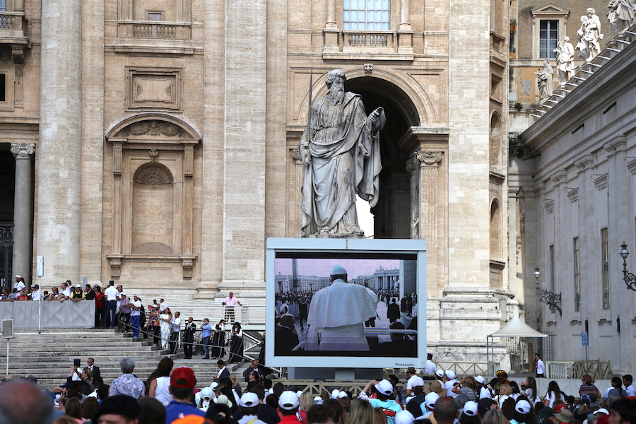 Pope Francis speaking at the Vatican in Rome