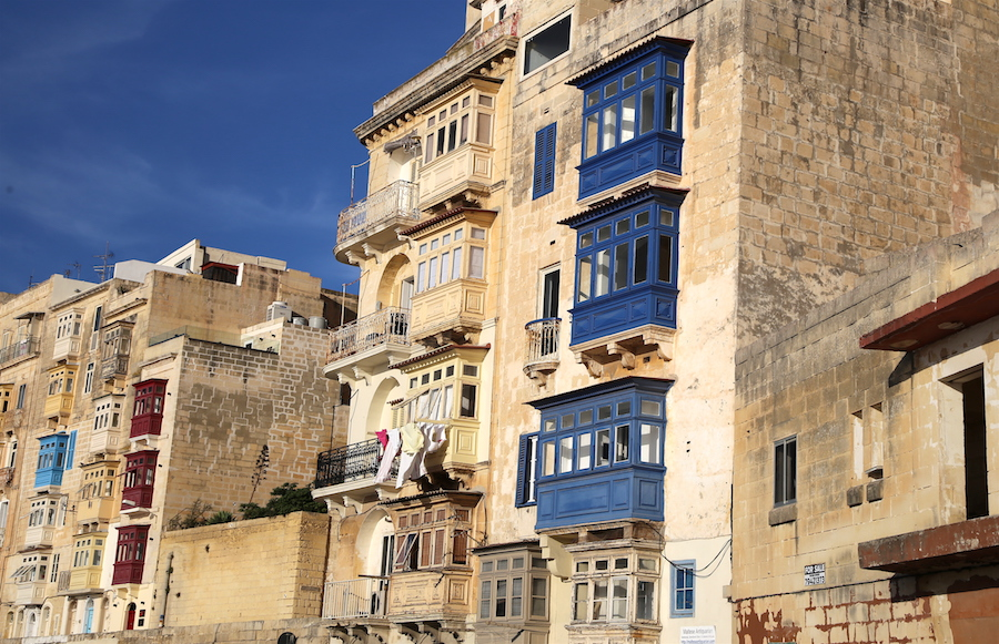 The enclosed balconies of Valletta in Malta