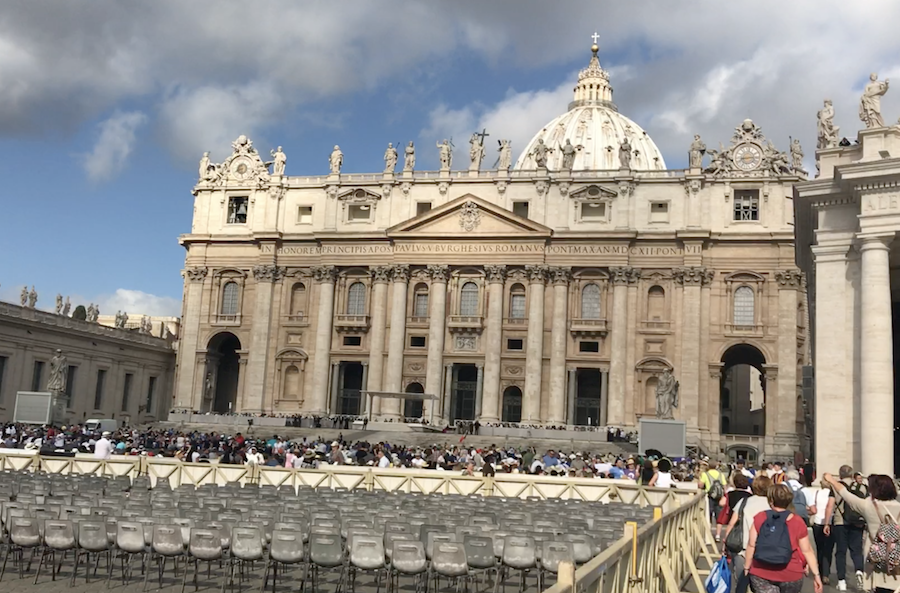 The Vatican in Rome setting up for the Papal Audience Mass