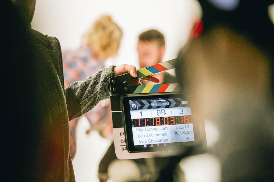 Clapperboard on a movie set