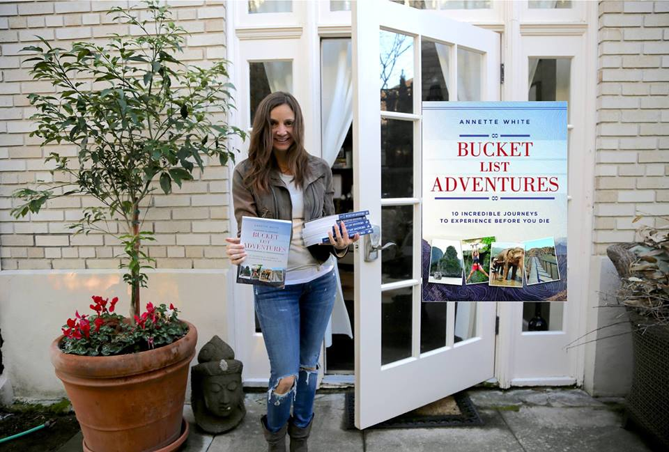 Annette White with her book Bucket List Adventures