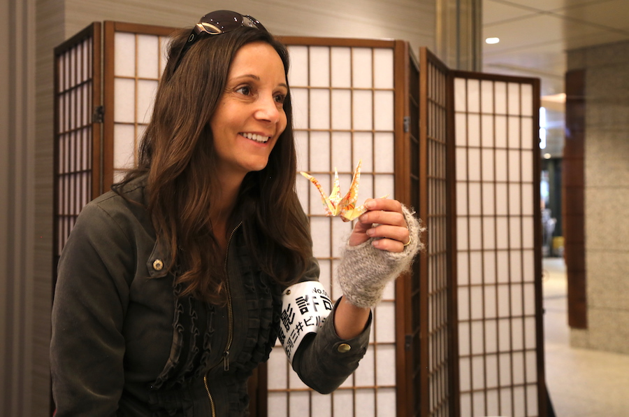 Annette White learning to make an origami crane in Tokyo, Japan