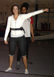 Annette White at a Trapeze School