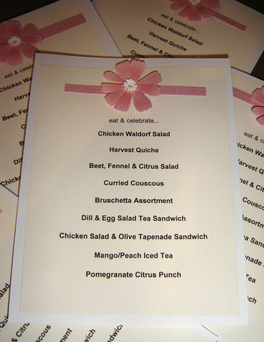 Ladies Luncheon Menu