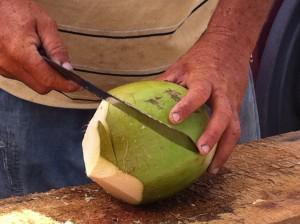 making fresh coconut juice