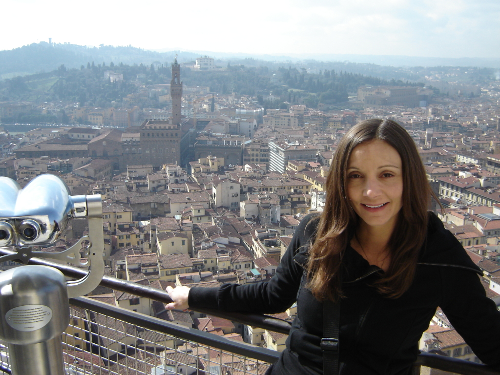 Annette White at the top of the Florence Duomo