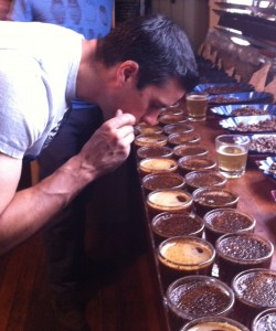Breaking the Crust at the Coffee Cupping