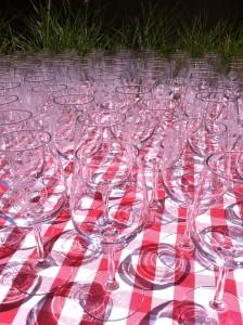 wine glasses at the Seghesio BBQ Competition