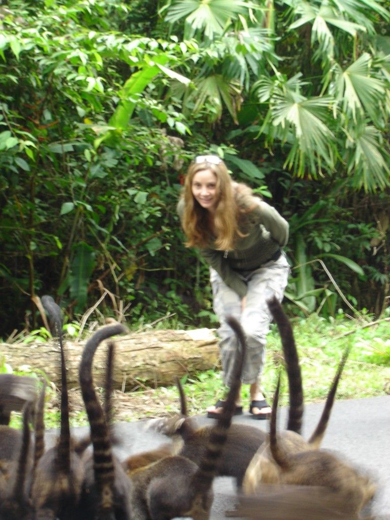 Annette White with Coati Animal
