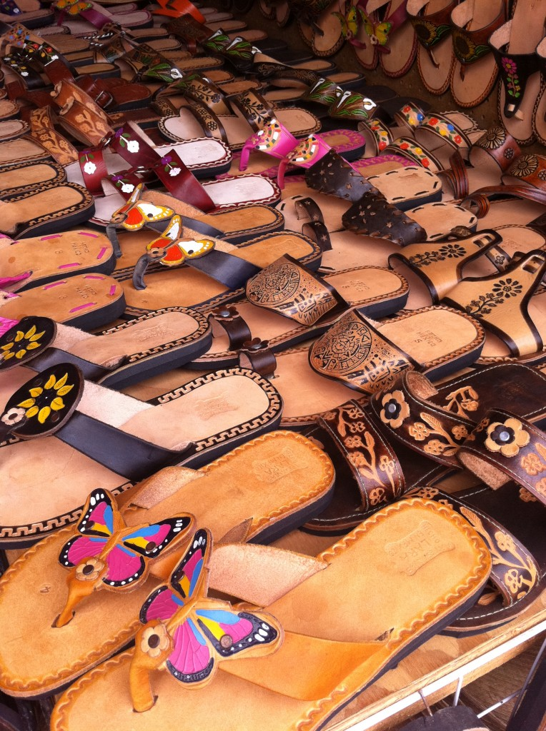 leather shoes at la bufadora market