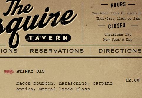Stinky Pig Menu