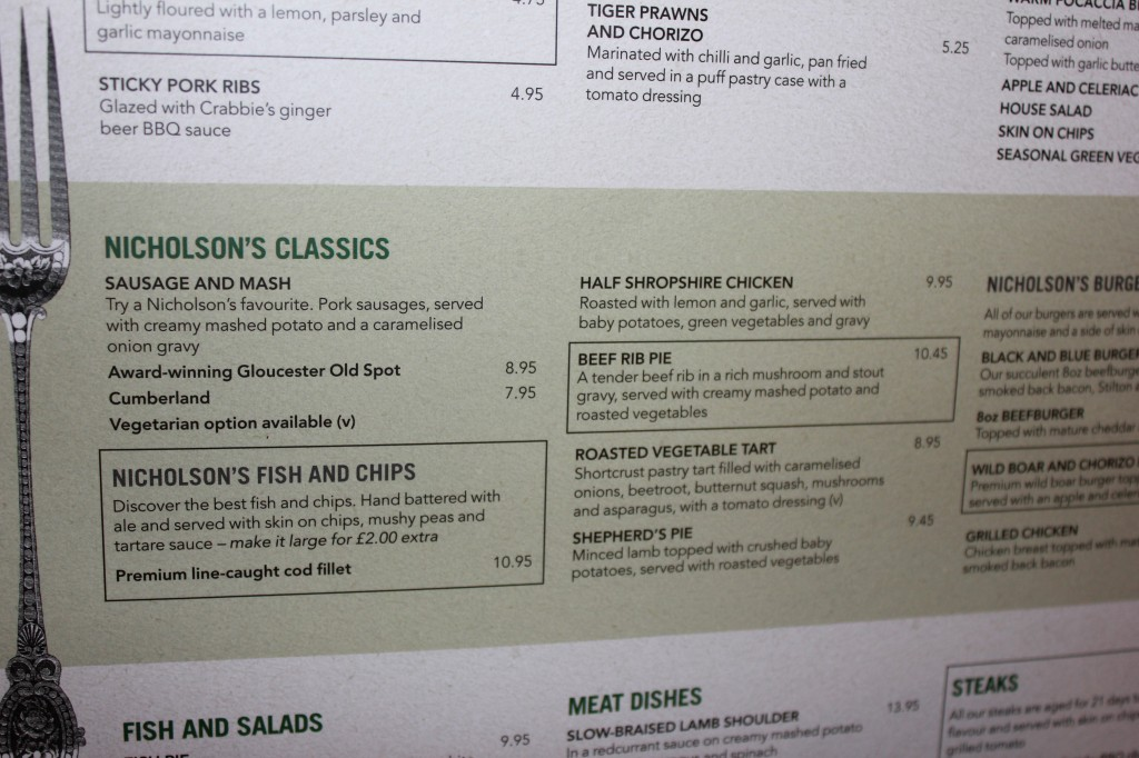 Princess of Wales Pub Menu in London
