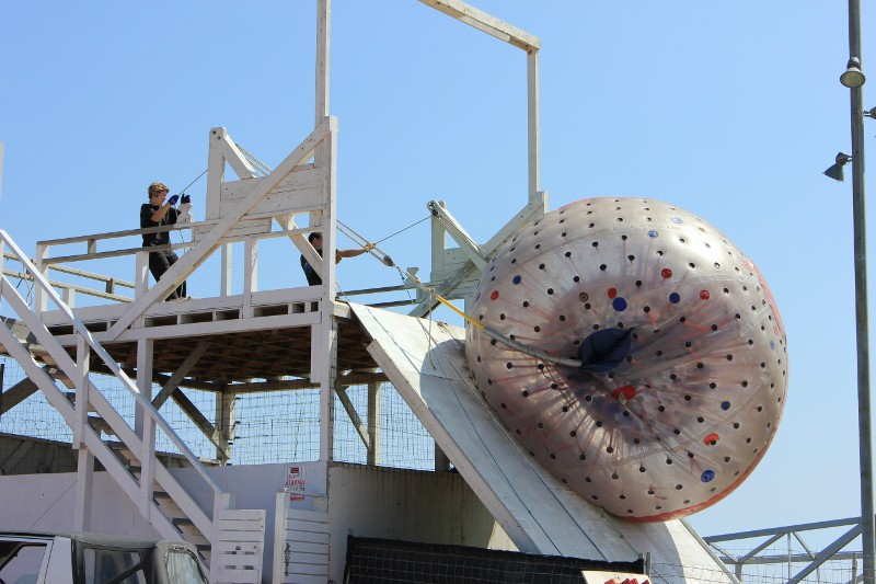 The zorb goes up the ramp