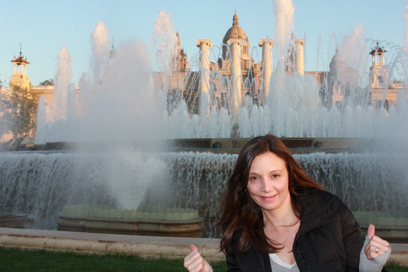 Annette White at Montjuic Fountain