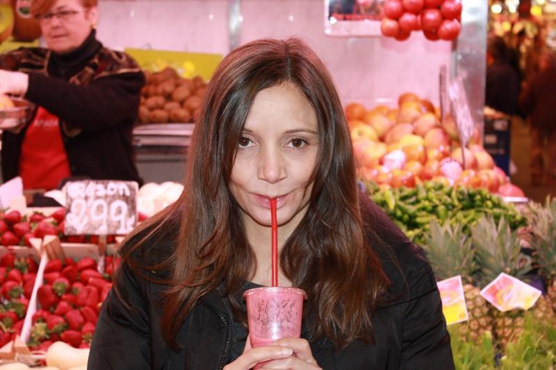 Annette White at La Boqueria Market