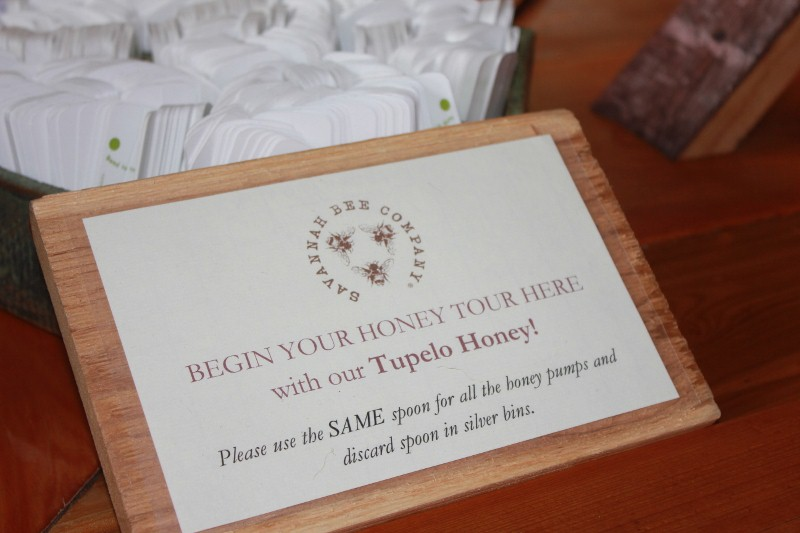 Savannah Bee Honey Tasting Sign