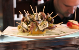 Pintxos de Anchoas and Guindillas