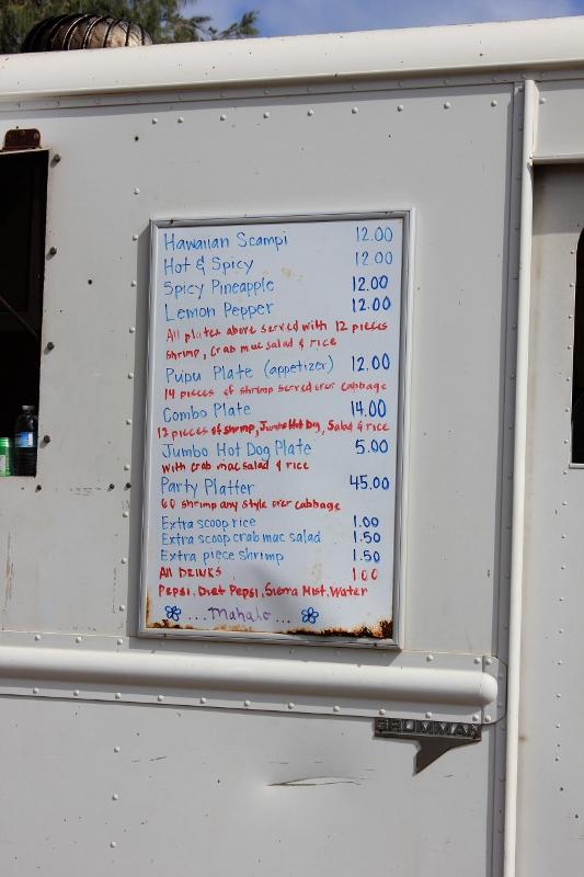 Hawaiian Food Truck Menu