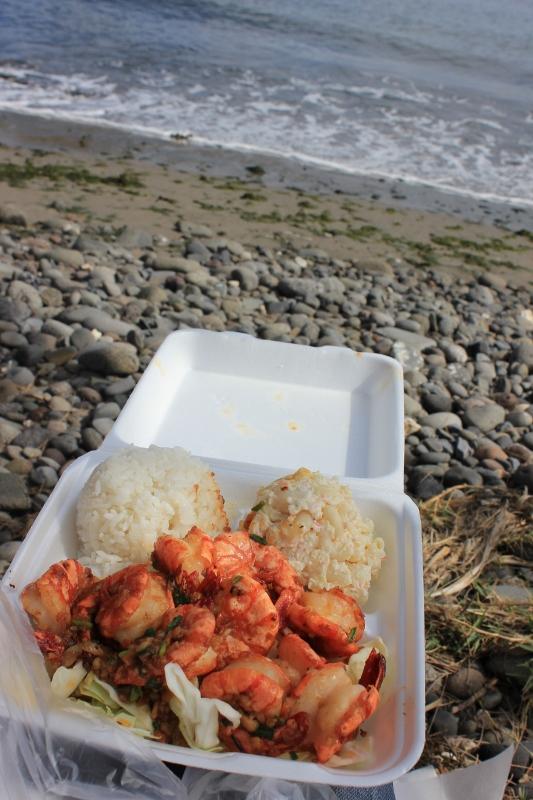 Eating Geste Shrimp from Hawaiian Food Truck