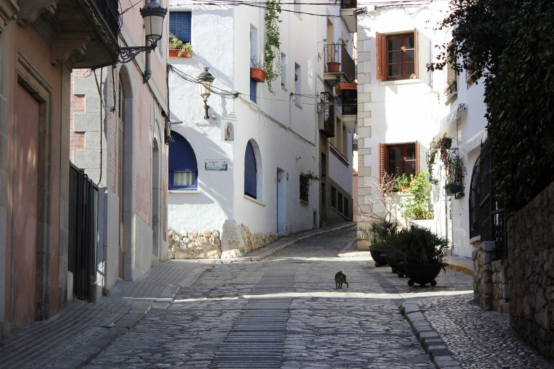 cobbled road of Sitges Spain