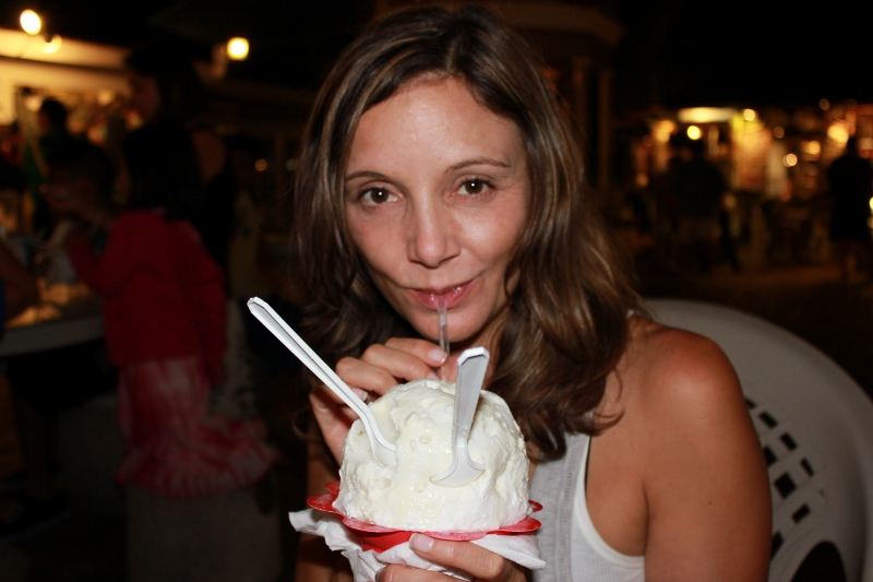Best Things to do in Maui: Annette White Eating Shaved Ice
